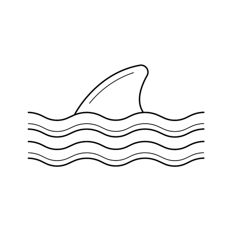 Dorsal shark fin above water line icon isolated on white background. Big fish fin line icon for infographic, website or app. Icon designed on a grid system.