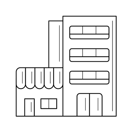 Building line icon isolated on white background for infographic, website or app. Icon designed on a grid system. 向量圖像