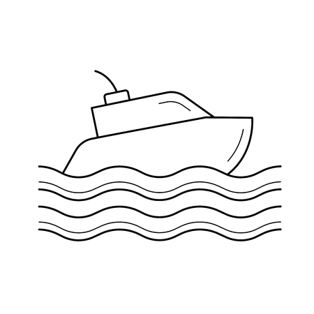 Boat line icon isolated on white background. Yacht line icon for infographic, website or app. Icon designed on a grid system.