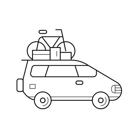 Van with a bicycle on a roof rack vector line icon isolated on white background. Car with a bicycle on a roof rack line icon for infographic, website or app. Icon designed on a grid system.