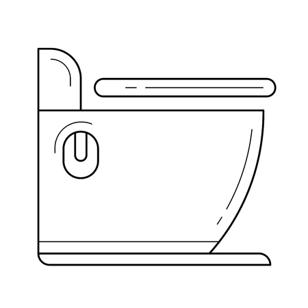 Toilet vector line icon isolated on white background for infographic, website or app. Icon designed on a grid system.