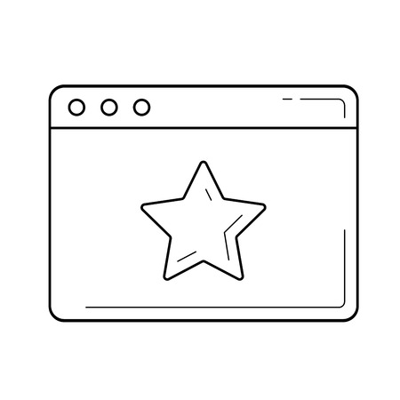 Starred page vector line icon isolated on white background. Internet starred page line icon for infographic, website or app.