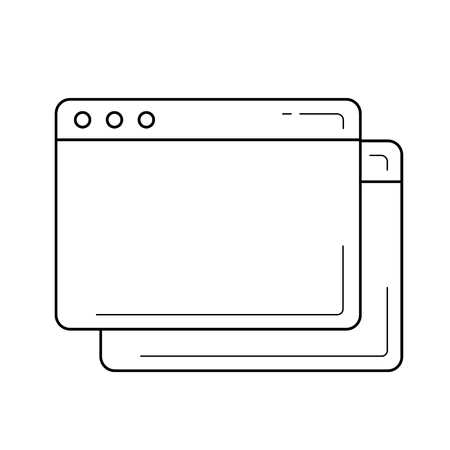 Browser window vector line icon isolated on white background. Copy tab line icon for infographic, website or app.