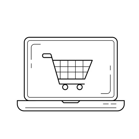 Online shopping vector line icon isolated on white background. Laptop with shopping cart line icon for infographic, website or app. Illustration