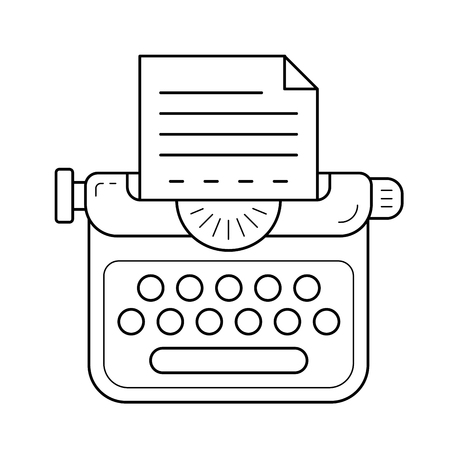 Typewriter vector line icon isolated on white background. Story writing line icon for infographic, website or app.