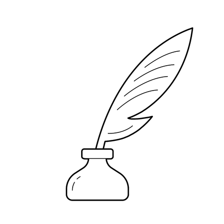 Copywriting vector line icon isolated on white background. Ink pot with feather icon for infographic, website or app.