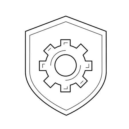 Data protection vector line icon isolated on white background. Protection shield line icon for infographic, website or app.