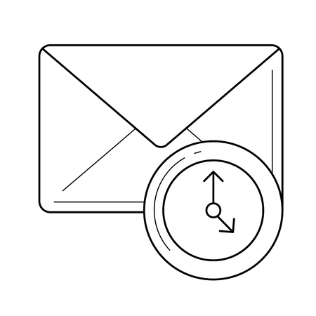 Email check vector line icon isolated on white background. Email check line icon for infographic, website or app. Illustration