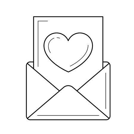 Read email with heart vector line icon isolated on white background. Read email line icon for infographic, website or app.