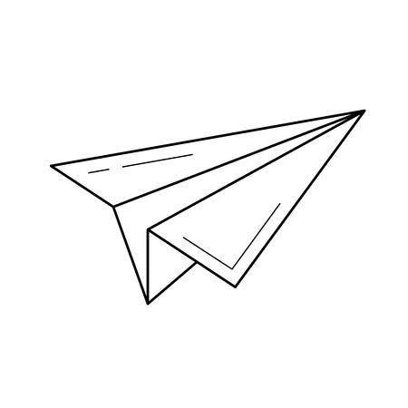 Send paper plane vector line icon isolated on white background. Send paper plane line icon for infographic, website or app. Stock Illustratie