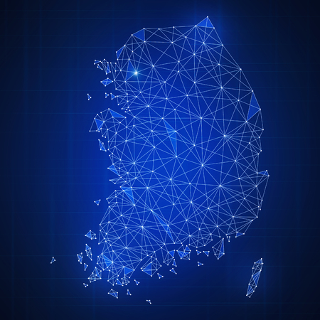 Polygon Korea map with blockchain technology peer to peer network on futuristic hud background. Network, p2p business, e-commerce, bitcoin trade and cryptocurrency blockchain business banner concept. Stock Photo