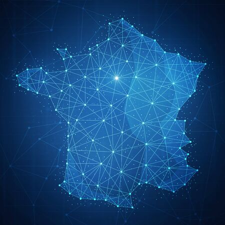 Polygon France country map with blockchain technology peer to peer network on futuristic hud background. Network, e-commerce, bitcoin trade and cryptocurrency blockchain business banner concept.