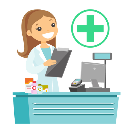 Caucasian white pharmacist holding a prescription and writing notes. Pharmacist in medical gown standing behind the counter and reading a prescription. Vector cartoon illustration. Square layout.