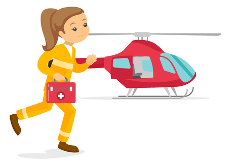 Caucasian white doctor of air ambulance running on the background of rescue helicopter. Young doctor of air ambulance carrying first aid box. Vector cartoon illustration isolated on white background. Vettoriali
