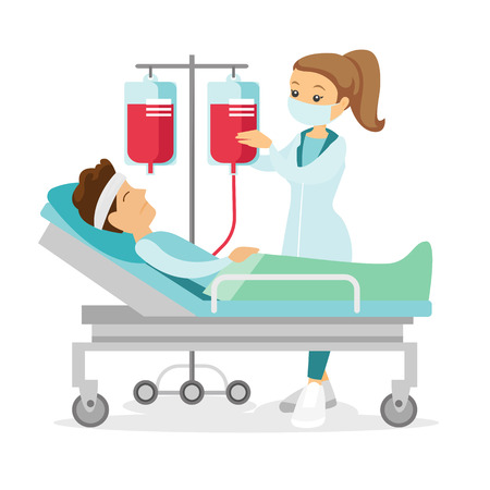 Caucasian white doctor visiting patient in coma lying in bed in the hospital. Patient during blood transfusion procedure. Health care concept. Vector cartoon illustration isolated on white background.