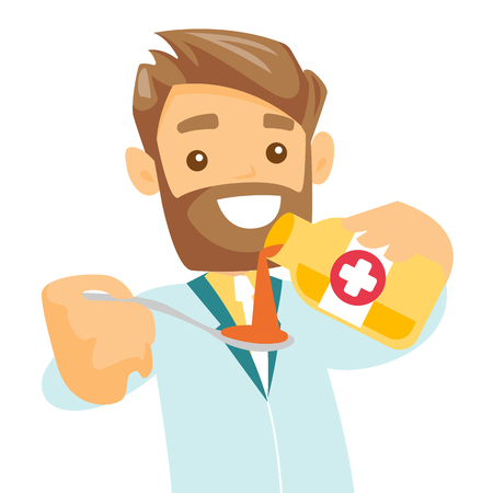 Caucasian white pharmacist pouring cough syrup into spoon. Smiling male pharmacist in medical gown pouring medicine from a bottle into a measuring spoon. Pharmacy concept. Vector cartoon illustration.
