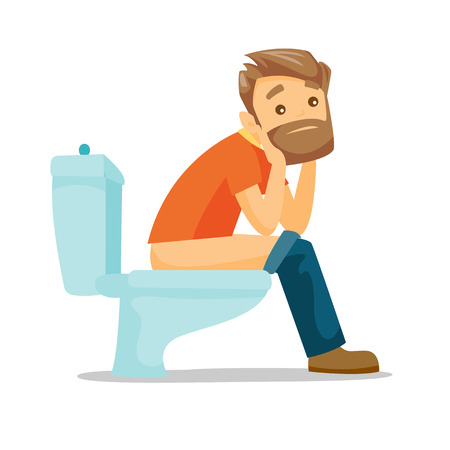 Caucasian white man sitting on the toilet bowl and suffering from constipation. Young hipster man suffering from diarrhea. Vector cartoon illustration isolated on white background. Square layout. Stock Illustratie