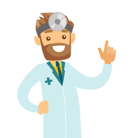 Young caucasian white otolaryngologist doctor. Audiologist doctor in medical gown and medical frontal reflector on the head used for examination of ear, nose, throat. Vector cartoon illustration.