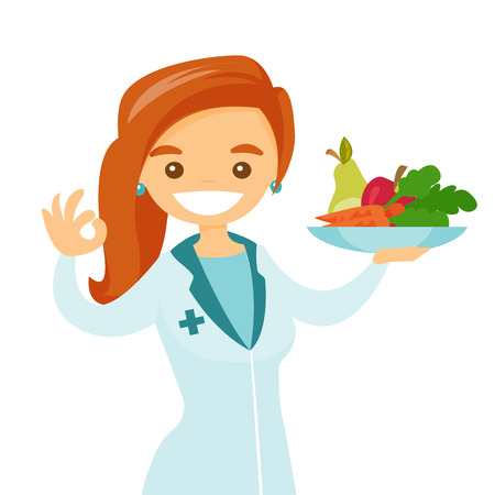 Caucasian white dietician holding plate with healthy food. Nutritionist prescribing diet and healthy eating. Nutritionist offering fresh food. Vector cartoon illustration isolated on white background. Stock Illustratie