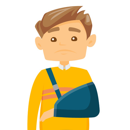 Injured caucasian white man wearing an arm brace. Full length of a young patient with broken arm in a bandage. Vector cartoon illustration isolated on white background. Square layout. Illustration