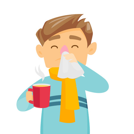 Sick caucasian white man blowing his nose to handkerchief. Young sick man having an allergy and blowing his nose to a tissue. Vector cartoon illustration isolated on white background. Square layout.