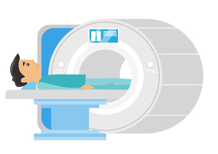 Young frightened caucasian white man undergoes a magnetic resonance imaging scan test. MRI scanner scanning a patient. Health care concept. Vector cartoon illustration isolated on white background.