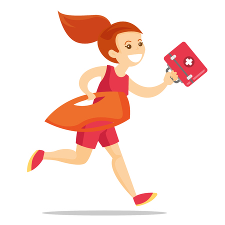 Young caucasian white female lifeguard in red swimsuit running with life preserver buoy and first aid box. Professional rescuer holding lifesaver equipment. Vector cartoon illustration. Square layout Ilustracja