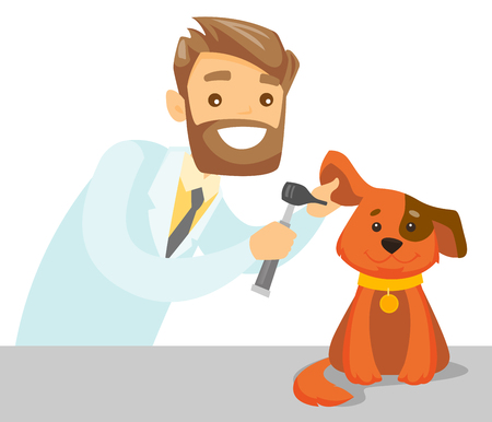 Caucasian white veterinarian doctor examining the dog in the hospital. Veterinarian checking the ear of dog with otoscope at vet clinic. Concept of medicine and pet care. Vector cartoon illustration. Foto de archivo - 98608280