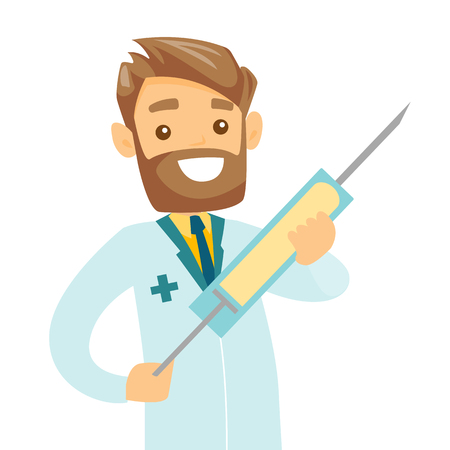 Smiling caucasian white doctor holding a medical injection syringe with vaccine. Young hipster doctor with a huge syringe. Vector cartoon illustration isolated on white background. Square layout.
