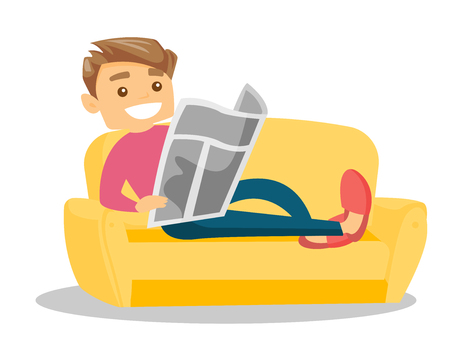 Caucasian white man laying on the couch and relaxing with a newspaper at home. Young man reading the news in newspaper. Vector cartoon illustration isolated on white background. Horizontal layout. Illustration