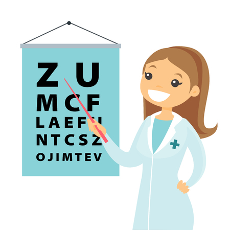 Young caucasian white ophthalmologist doctor pointing at the eye test chart. Optometrist examining the sight of a patient with an eye chart. Vector cartoon illustration isolated on white background.