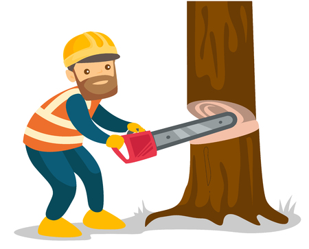 Young caucasian white woodcutter in workwear and hard hat cutting tree with a chainsaw. Hipster lumberjack with beard working with a chainsaw. Vector cartoon illustration isolated on white background.