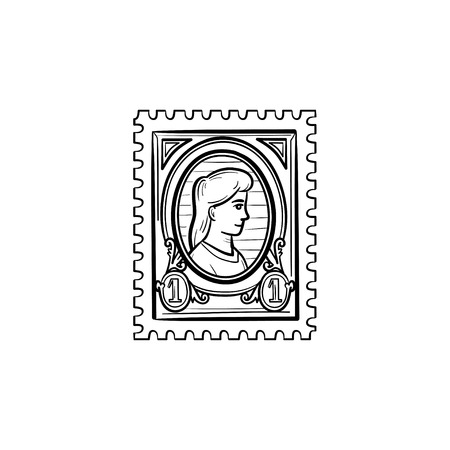Philately hand drawn outline doodle icon. Postage stamp vector sketch illustration for print, web, mobile and infographics isolated on white background. Çizim