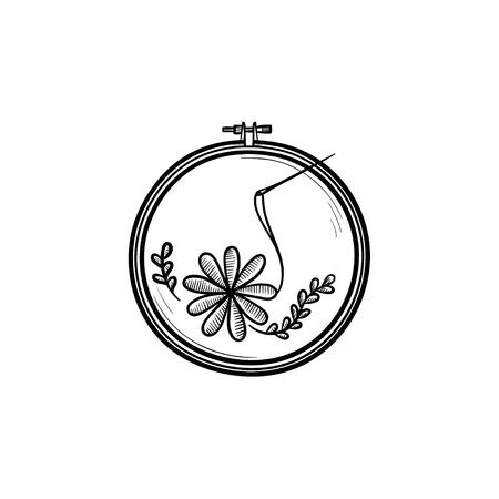 Rękodzieło ręcznie rysowane konspektu doodle ikona. Wątek i igła do haftu ilustracja szkic wektor do druku, sieci web, mobile i infografiki na białym tle.