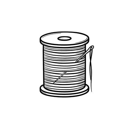 바늘 손으로 그려진 된 개요 낙서 아이콘으로 스레드 스풀. 면화 스레드 및 바늘 벡터 스케치 그림 인쇄, 웹, 모바일 및 흰색 배경에 고립 된 infographics.