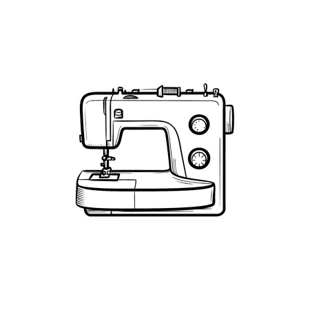 Sewing-machine hand drawn outline doodle icon. Vector sketch illustration of sewing-machine for print, web, mobile and infographics isolated on white background. Illustration