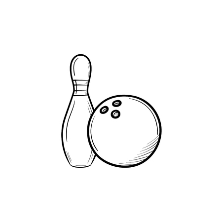Bowling hand drawn outline doodle icon. Pins and ball for bowling vector sketch illustration for print, web, mobile and infographics isolated on white background.