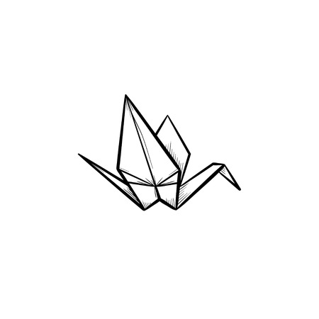 Origami Crane Hand Drawn Outline Doodle Icon Crane Origami Vector