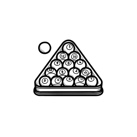 Billiards rack hand drawn outline doodle icon. Balls in the rack for billiards vector sketch illustration for print, web, mobile and infographics isolated on white background.