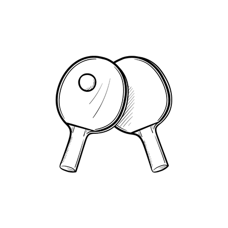 Table tennis hand drawn outline doodle icon. Racket and ball for table tennis vector sketch illustration for print, web, mobile and infographics isolated on white background.