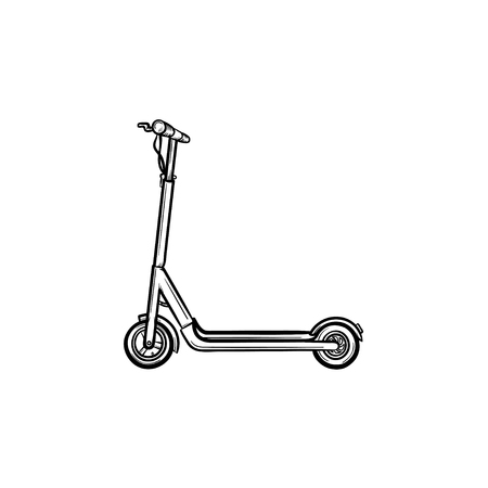 Kick scooter hand drawn outline doodle icon. Vector sketch illustration of kick scooter for print, web, mobile and infographics isolated on white background.
