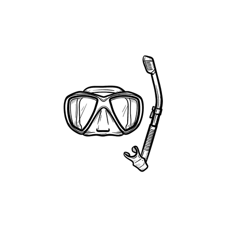 Mask and snorkel for swim in pool hand drawn outline doodle icon. Summer holiday equipment for swim in pool vector sketch illustration for print, mobile and infographics isolated on white background. Illustration