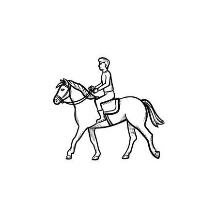 Man riding horse with saddle hand drawn outline doodle icon. Horse riding vector sketch illustration for print, web, mobile and infographics isolated on white background. 向量圖像