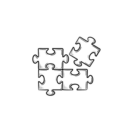 Puzzle hand drawn outline doodle icon. Piece of puzzle vector sketch illustration for print, web, mobile and infographics isolated on white background.