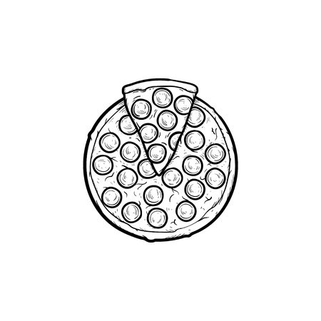 Italian pizza hand drawn outline doodle icon. Vector sketch illustration of whole pizza for print, web, mobile and infographics isolated on white background.  イラスト・ベクター素材