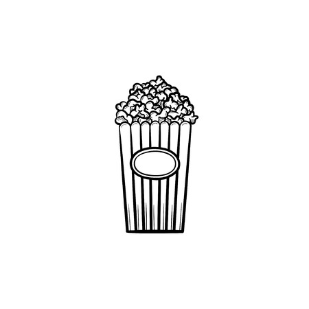 Popcorn hand drawn outline doodle icon. Striped cardboard bucket full of popcorn vector sketch illustration for print, web, mobile and infographics. Food for entertainment event and circus show. Banque d'images - 98612115