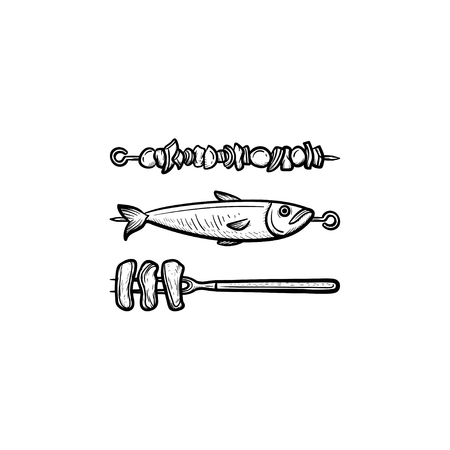 Skewer with shish kebab and grilled fish hand drawn outline doodle icon. Shish kebab from meat and fish vector sketch illustration for print, web, mobile and infographics isolated on white background.