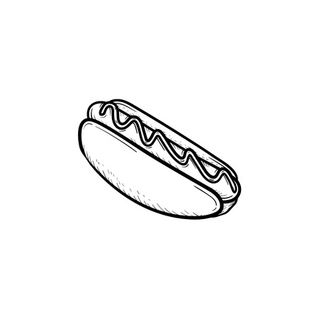 Hotdog hand drawn outline doodle icon. Vector sketch illustration of hotdog bun with sausage for print, web, mobile and infographics isolated on white background.