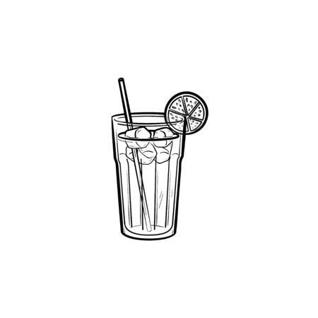 Orange juice with straw hand drawn outline doodle icon. Non-alcohol orange drink vector sketch illustration for print, web, mobile and infographics isolated on white background.
