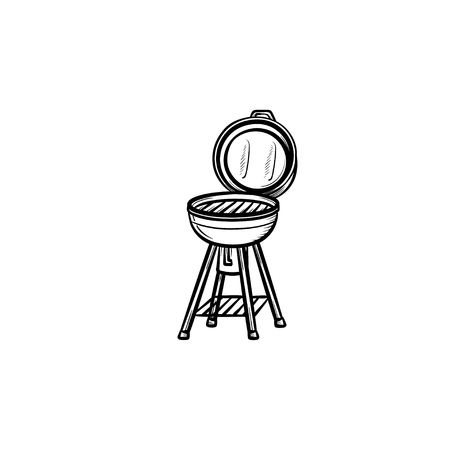 BBQ grill hand drawn outline doodle icon. Kettle barbecue grill vector sketch illustration for print, web, mobile and infographics isolated on white background.